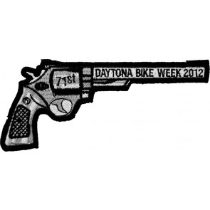 2012 Daytona Bike Week 71st Black Revolver Hand Gun Right Event Patch
