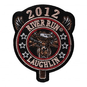 Sew On 2012 Laughlin River Run Eagle Biker Round Tab Event Patch