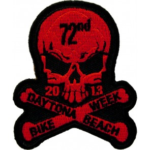 2013 Daytona Beach Bike Week 72nd Skull & Crossbones Red Event Patch