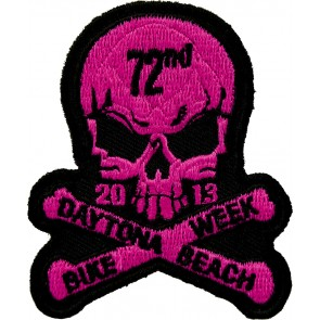 2013 Daytona Beach Bike Week 72nd Skull & Crossbones Pink Event Patch