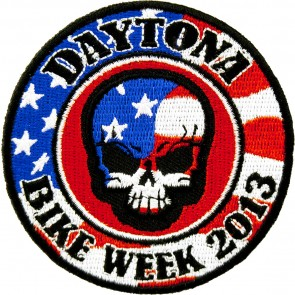2013 Daytona Bike Week American Flag Skull Round Event Patch