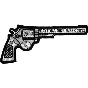 2013 Daytona Bike Week 72nd Black Revolver Hand Gun Right Event Patch