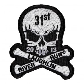 Embroidered 2013 Laughlin River Run Skull & Crossbones White Event Patch