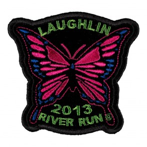 Embroidered 2013 Laughlin River Run Pink Butterfly Event Patch