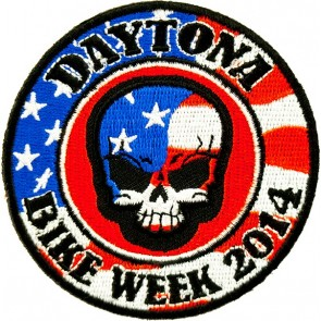 Round US Flag Bike Week Patch