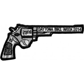2014 Daytona Bike Week 73rd Black Revolver Hand Gun Right Event Patch