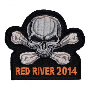 Embroidered 2014 Red River Skull & Crossbones White & Grey Event Patch