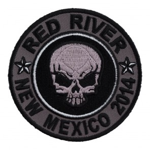 Sew On 2014 Red River Grey Skull Round Event Patch