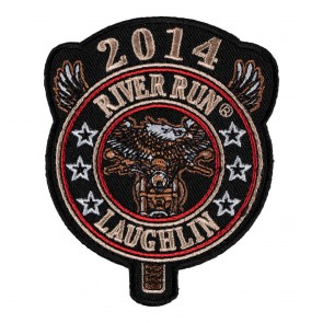 Iron On 2014 Laughlin River Run Eagle Biker Round Tab Event Patch