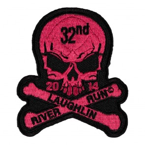 Sew On & Iron On 2014 Laughlin River Run Skull & Crossbones Pink Event Patch