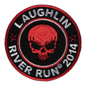Sew On 2014 Laughlin River Run Red Skull Round Event Patch