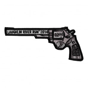 Sew On & Iron On 2014 Laughlin River Run Left Revolver Hand Gun Event Patch