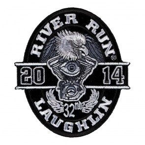 Iron On 2014 Laughlin River Run Black Oval Eagle Event Patch