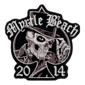 2014 Myrtle Beach Embroidered Top Hat Skull Spade Event Patch
