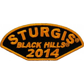 2014 Sturgis Black Hills Half Moon Shaped Orange Event Patch