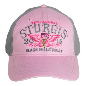 2015 Sturgis 75th Anniversary Black Hills Rally Pink Rose & Wings Ladies Cap