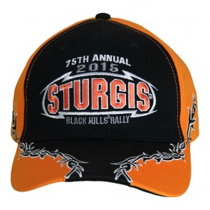 75th Annual Sturgis Barbed Wire Logo Orange and Black Cap