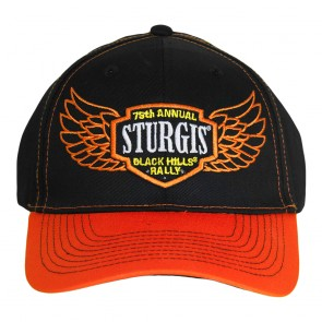 2015 Sturgis 75th Anniversary Black Hills Rally Black & Orange Winged Shield Hat