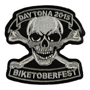 2015 Biketoberfest Daytona Grey Skull & Crossbones Event Patch