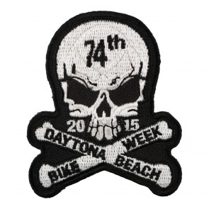 2015 Daytona Beach Bike Week 74th Skull & Crossbones White Event Patch