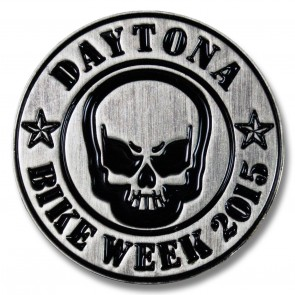 Round Skull Bike Week Pin