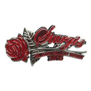 75th Sturgis Motorcycle Rally 2015 Red Rose & Stem Event Pin