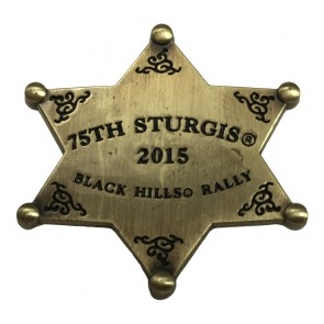 2015 Sturgis 75th Anniversary Black Hills Rally Gold Western Sheriff Star Event Pin