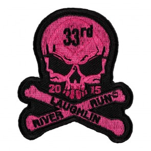 Sew On 2015 Laughlin River Run Skull & Crossbones Pink Event Patch