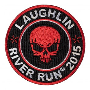 Iron On 2015 Laughlin River Run Red Skull Round Event Patch