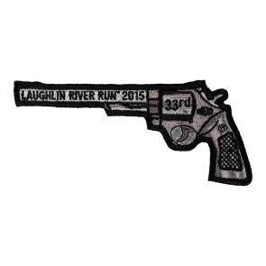 Sew On 2015 Laughlin River Run Left Revolver Hand Gun Event Patch