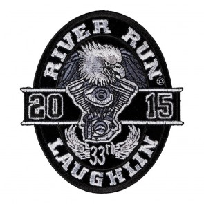 VTwin Engine Embroidered 2015 Laughlin River Run Black Oval Eagle Event Patch