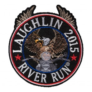 Winged Round 2015 Laughlin River Run Riding Eagle Patriotic Event Patch