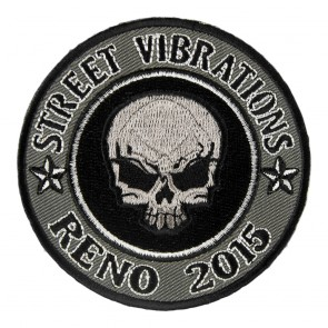 2015 Street Vibrations Reno Grey Skull Round Patch
