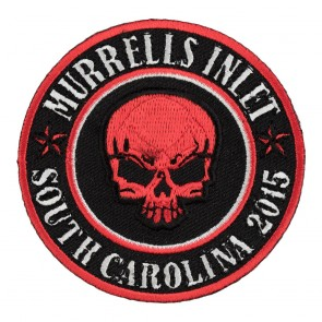 2015 Murrells Inlet Red Skull Round Sew On Event Patch