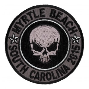 Embroidered 2015 Myrtle Beach Grey Skull Round Event Patch