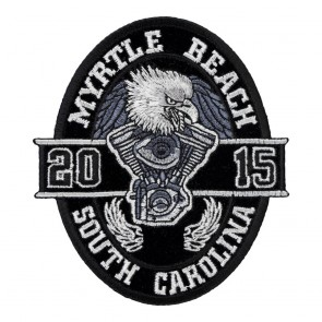 2015 Myrtle Beach Black Oval Eagle Iron On Event Patch