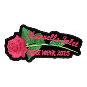 2015 Murrells Inlet Pink Rose & Stem Iron On Event Patch