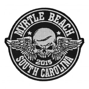 2015 Embroidered Myrtle Beach Winged Skull Black & White Event Patch