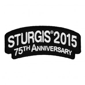 2015 Sturgis 75th Anniversary Motorcycle Rally White Rocker Embroidered Event Patch