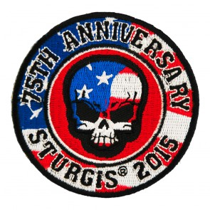 2015 Sturgis 75th Anniversary American Flag Skull Embroidered Round Event Patch