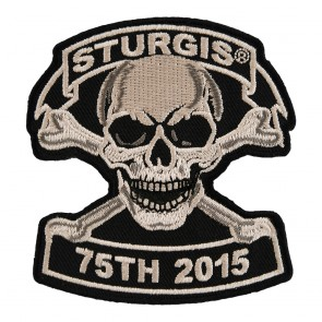 2015 Sturgis 75th Anniversary Tan Skull & Crossbones Embroidered Event Patch