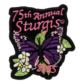 2015 Sturgis 75th Anniversary Purple Butterfly Flowered Embroidered Event Patch