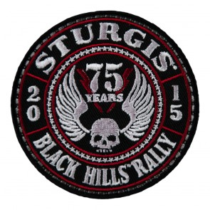 2015 Sturgis 75th Anniversary Black Hills Rally Red & Black Winged Skull Event Patch
