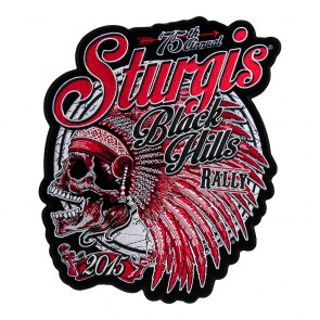 2015 Sturgis 75th Anniversary Red Indian Chief Skull Embroidered Event Patch