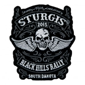 2015 Sturgis 75th Anniversary Black Hills Rally Winged Skull Iron On Event Patch