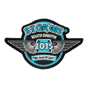 2015 Sturgis Black Hills Rally 75th Anniversary Blue & White Wings Embroidered Event Patch