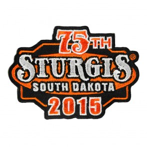 Embroidered 2015 Sturgis South Dakota 75th Anniversary Orange & Black Event Patch