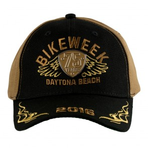 Black & Brown 2016 Daytona Beach Bike Week 75 Years Shield Event Cap
