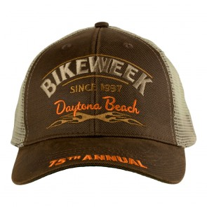Tan Mesh Embroidered 2016 Daytona Beach Bike Week Tribal Flames Event Cap