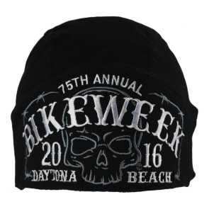 Embroidered Daytona Beach Bike Week 75th Anniversary Ghost Skull Headwrap